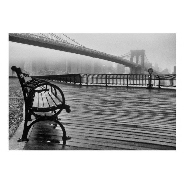 Fototapeta - A Foggy Day on the Brooklyn Bridge